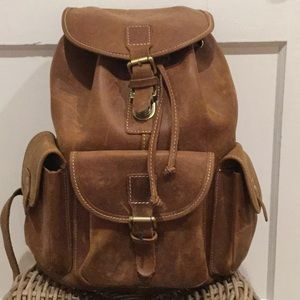 Brown Raw Leather Backpack